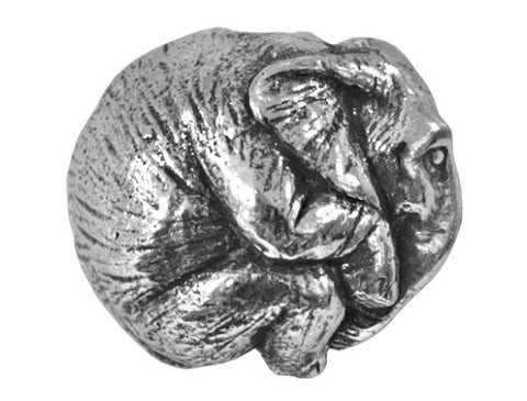 Green Girl Elephant 3/4 inch Pewter Bead Antique Silver Color