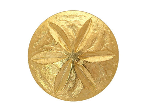 Sand Dollar 3/4 inch Metal Button  Matte Gold Color