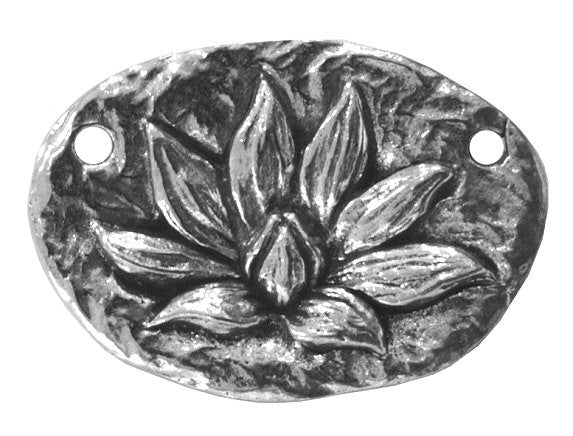 Green Girl Lotus Blossom Enlightenment Centerpiece Large Pewter Link Antique Silver Color