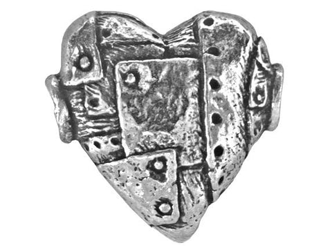 Green Girl Unbreakable Heart 3/4 inch Pewter Bead Antique Silver Color
