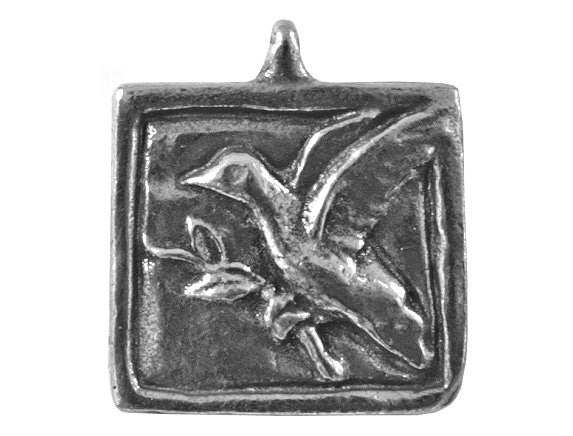 Green Girl Peace Dove 3/4 inch Pewter Charm Antique Silver Color