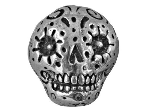 Green Girl Sugar Skull 9/16 inch Pewter Bead Antique Silver Color