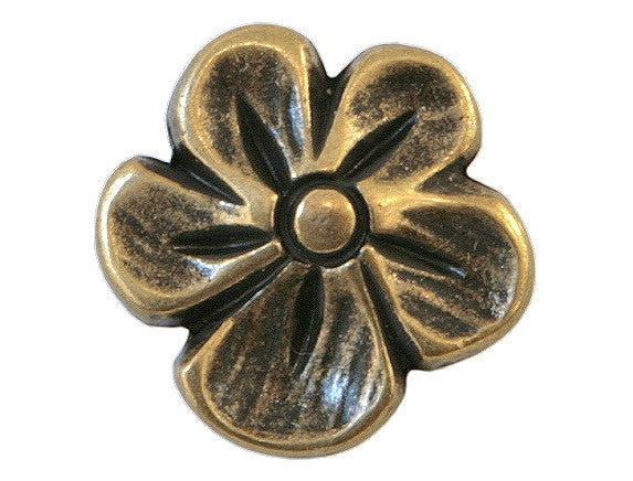 Blossom  9/16 inch Metal Button Antique Brass Color