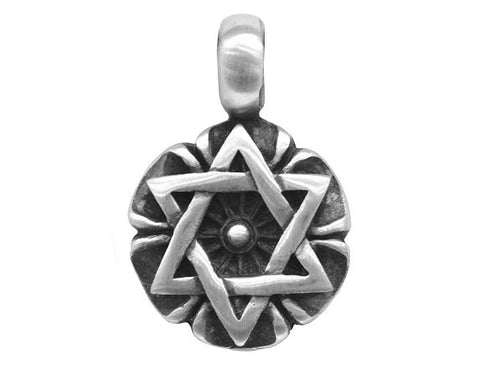 Olavi Floral Star of David Large Pewter Pendant Antique Silver Color