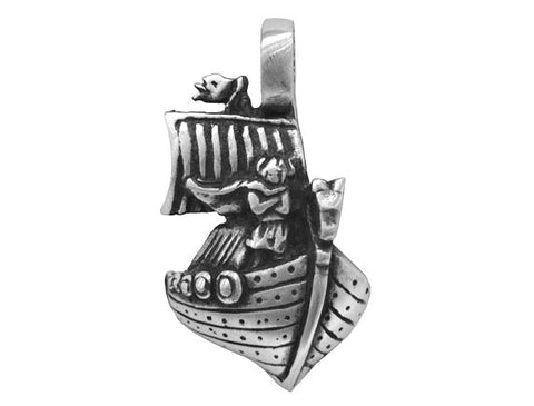 Olavi Viking Legends Ship Pewter Pendant Antique Silver Color