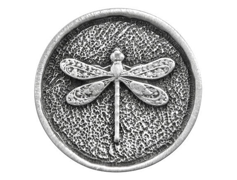 TreasureCast Round Dragonfly<br> 15/16 inch Pewter Button<br> Antique Silver Color