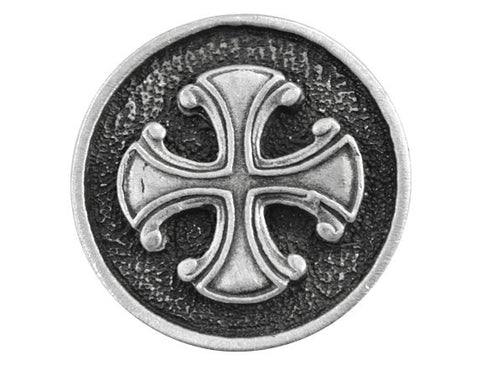 TreasureCast Maltese Cross<br> 15/16 inch Pewter Button<br> Antique Silver Color