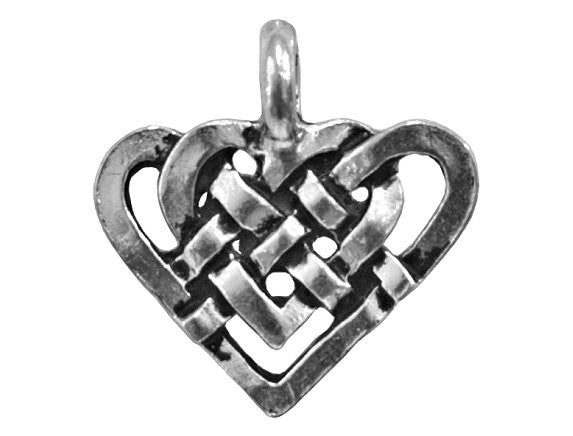 Celtic Heart 5/8 inch Pewter Charm Antique Silver Color
