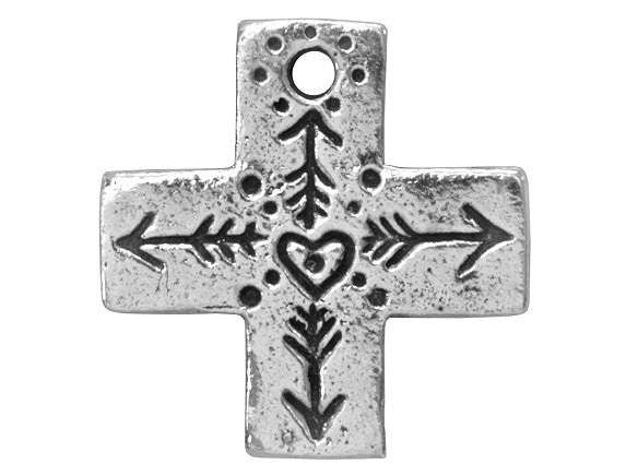 Green Girl Heart Cross 15/16 inch Pewter Pendant Antique Silver Color