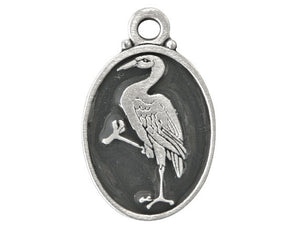 Crane Pewter Pendant Silver / Black Color