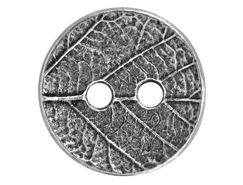 TierraCast Round Leaf<br> 5/8 inch Pewter Button<br> Two-Hole  Antique Silver Color