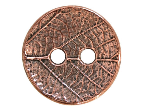 TierraCast Round Leaf<br> 5/8 inch Pewter Button<br> Copper Plated
