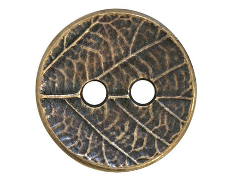 TierraCast Round Leaf<br> 5/8 inch Pewter Button<br> Brass Plated