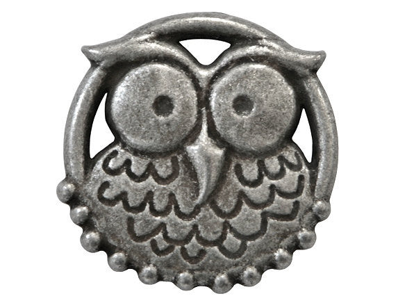 Dill Nicky Epstein Hoot Owl 1 inch Metal Button Antique Tin Color