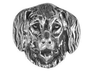 Ram's Horn Newfoundland Dog 1 inch Pewter Button Antique Silver Color
