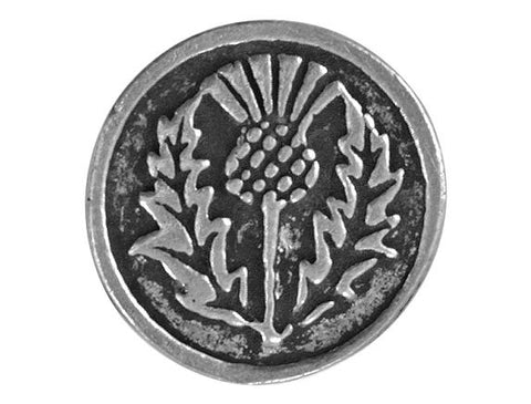 Ram's Horn Round Thistle Flower 11/16 inch Pewter Button Antique Silver Color