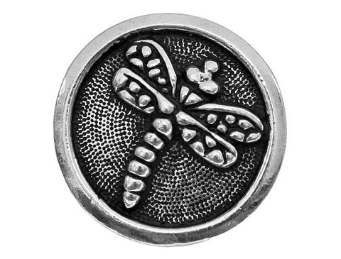TierraCast Dragonfly 5/8 inch Pewter Button Silver Plated