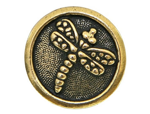 TierraCast Dragonfly 5/8 inch Pewter Button Gold Plated