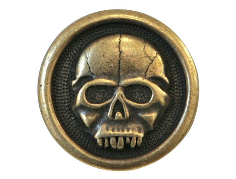 TierraCast Scary Skull<br> 5/8 inch Pewter Button<br> Brass Plated