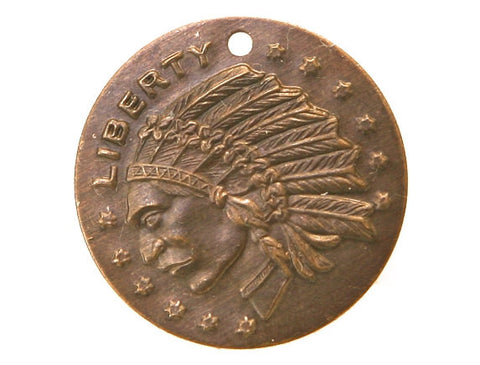 Vintaj Liberty Indian Coin 3/4 inch Charm with Jump Ring Brass Color