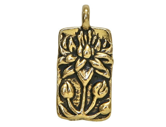 TierraCast Floating Lotus 11/16 inch Pewter Drop Gold Plated Charm