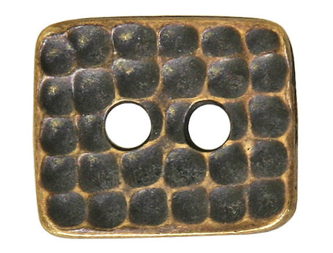 TierraCast Hammertone Rectangle<br> 5/8 inch Pewter Button<br> Brass Plated
