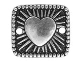 TierraCast Radiant Heart 9/16 inch Pewter Link Silver Plated