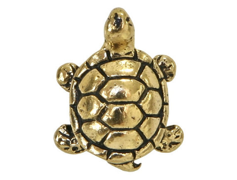 TierraCast Turtle<br> 5/8 inch Pewter Bead<br> Gold Plated