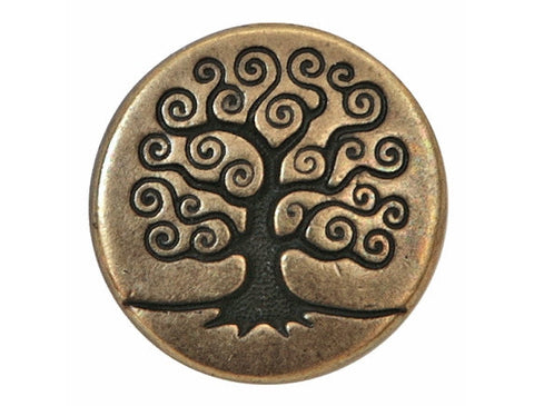TierraCast Tree of Life 5/8 inch Pewter Button Brass Color