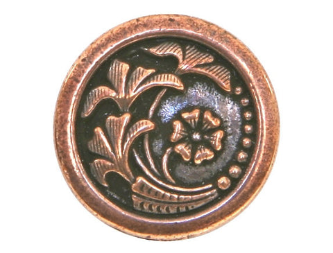 TierraCast Czech Flower 5/8 inch Pewter Button Copper Plated