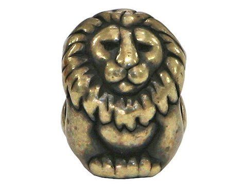 TierraCast Lion 7/16 inch Brass Plated Pewter Euroo Bead