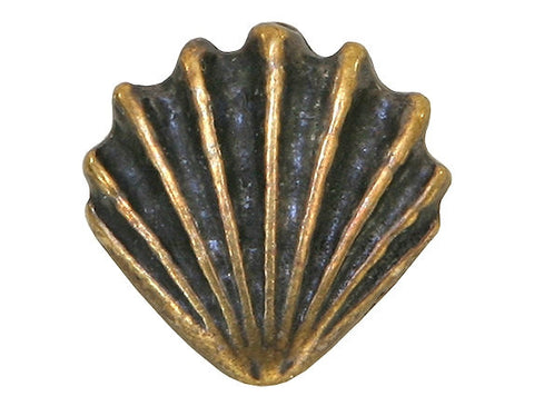 TierraCast Large Shell<br> 1/2 inch Pewter Bead<br> Brass Plated