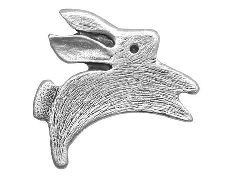 TreasureCast Leaping Rabbit 1 and 3/16 inch Pewter Button Antique Silver Color