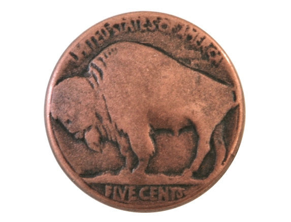Buffalo Nickel  3/4 inch Metal Button Antique Copper Color