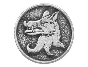 TreasureCast Medieval Boar 1 inch Pewter Button Antique Silver Color