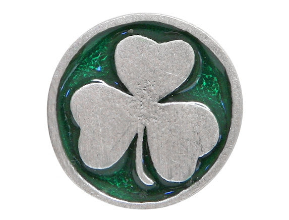 TreasureCast Shamrock 11/16 inch Pewter Button Silver / Green Color