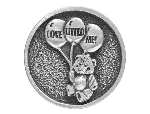 TreasureCast Love Lifted Me Teddy Bear<br> 1 inch Pewter Button<br> Antique Silver Color