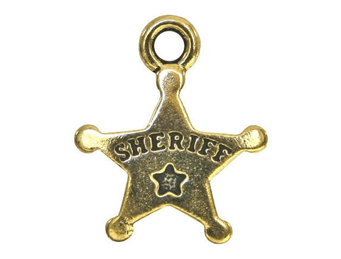 TierraCast Sheriff Badge 11/16 inch Pewter Drop Gold Plated Charm