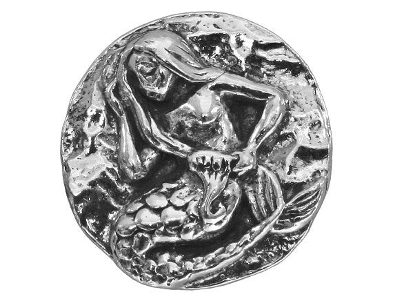 Green Girl Mermaid 13/16 inch Pewter Button Antique Silver Color