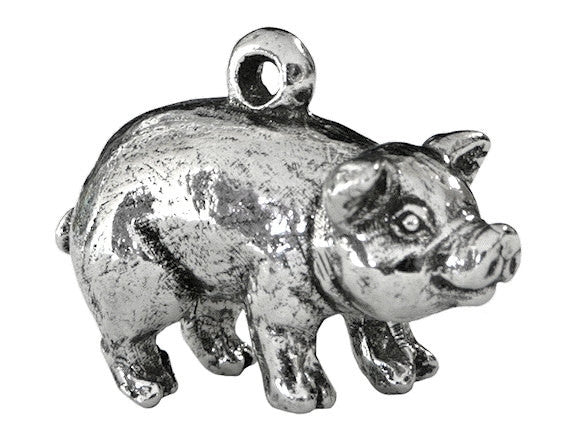 Green Girl Chubby Pig 7/8 inch Pewter Pendant Antique Silver Color