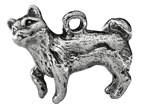 Green Girl Shiba Inu Dog 1 inch Pewter Pendant Antique Silver Color