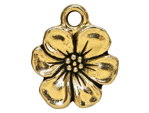 TierraCast Apple Blossom 11/16 inch Pewter Drop Gold Plated Charm