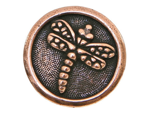 TierraCast Dragonfly 5/8 inch Pewter Button Copper Plated