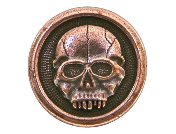 TierraCast Scary Skull 5/8 inch Pewter Button Copper Plated