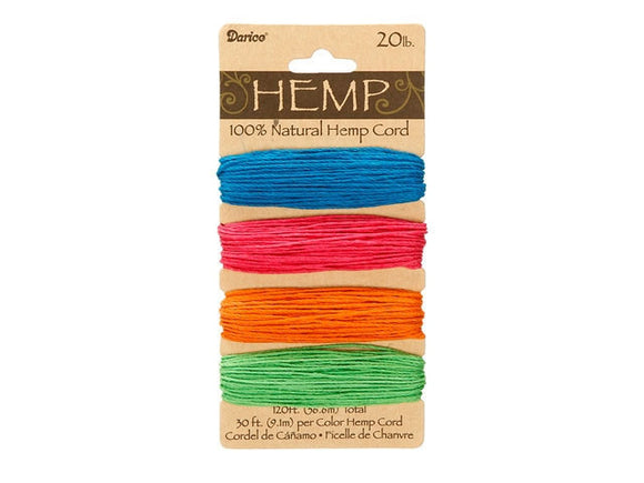 Hemp Cord Assorted Neon Color Set ( 20 lb 120 feet )