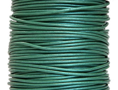 Round Leather Cord 1 mm Diameter Truly Teal By the Yard
