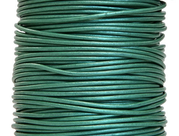 Round Leather Cord 2 mm Diameter Truly Teal 50 Meter Spool
