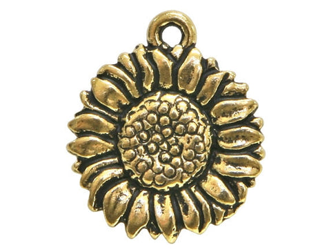 TierraCast Sunflower 11/16 inch Pewter Drop Gold Plated Charm