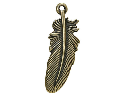 TierraCast Large Feather<br> Large Pewter Pendant<br> Brass Plated
