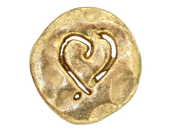 Etched Heart 5/8 inch Metal Button Antique Gold Color